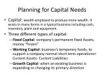 planning for capital needs