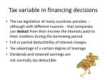 tax variable in financing decisions