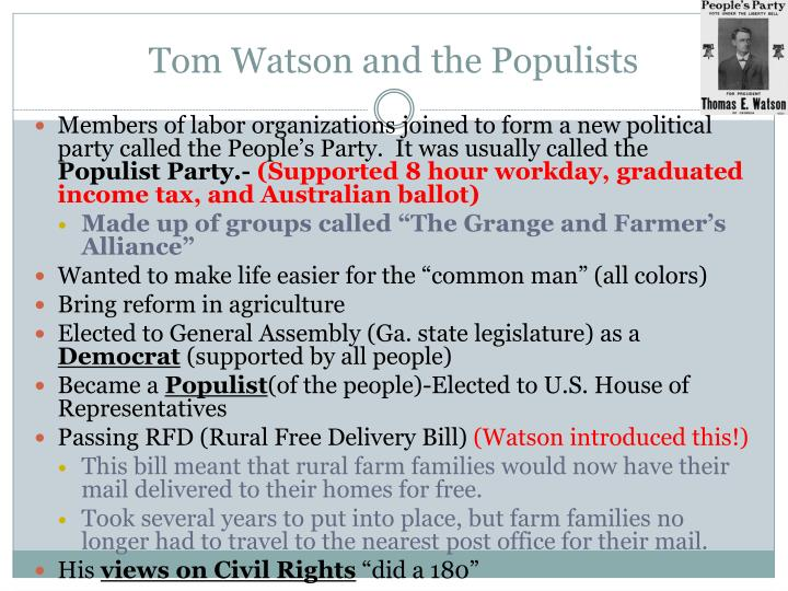 Tom Watson and the Populists