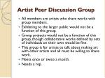 artist peer discussion group