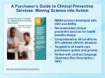 a purchaser s guide to clinical preventive services moving science into action