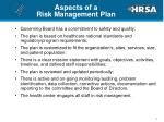 aspects of a risk management plan