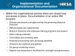 implementation and organizational documentation