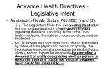 advance health directives legislative intent