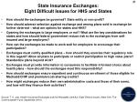 state insurance exchanges eight difficult issues for hhs and states