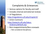 complaints grievances