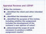 appraisal reviews and uspap1