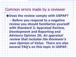 common errors made by a reviewer