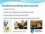 excellent teaching and research