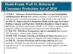dodd frank wall st reform consumer protection act of 20102