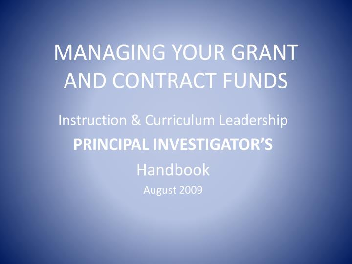 managing your grant and contract funds n.