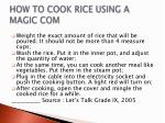 how to cook rice using a magic com