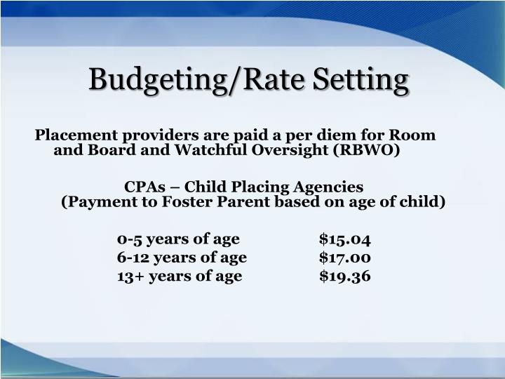 Budgeting/Rate Setting