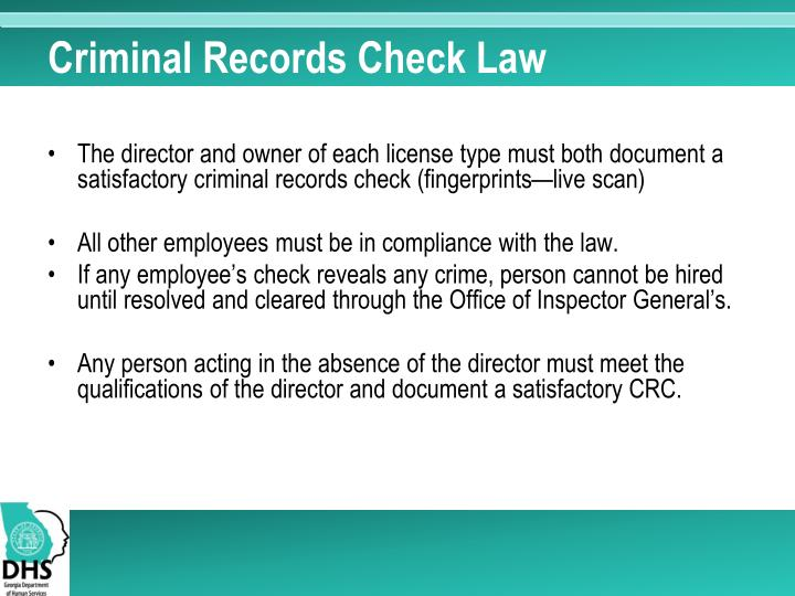 Criminal Records Check Law