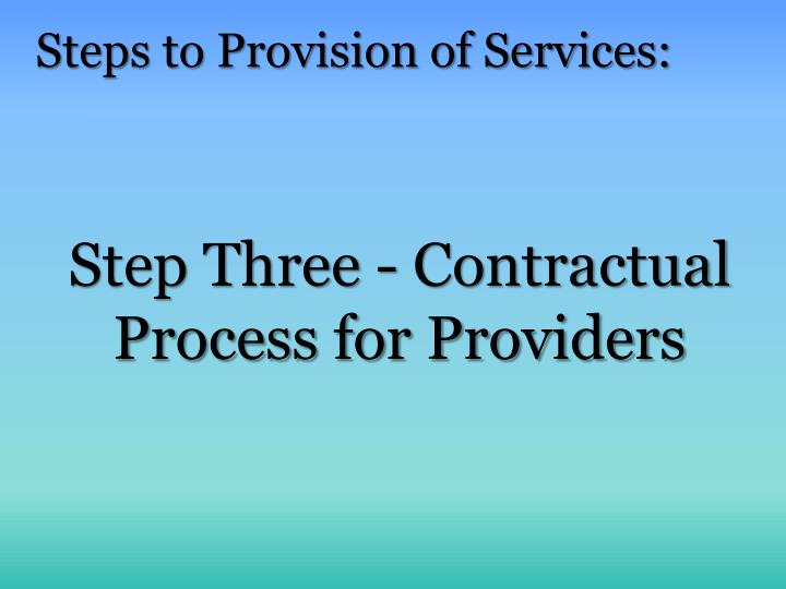 Step Three - Contractual Process for Providers