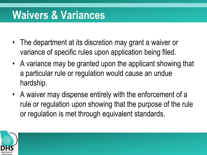Waivers & Variances