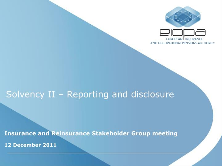 solvency ii reporting and disclosure n.
