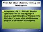 article 121 new education training and development