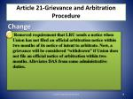 article 21 grievance and arbitration procedure