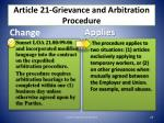 article 21 grievance and arbitration procedure1