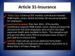 article 31 insurance