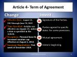 article 4 term of agreement