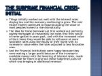 the subprime financial crisis initial