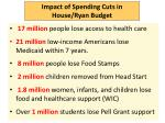impact of spending cuts in house ryan budget
