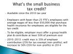 what s the small business tax credit