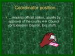 coordinator position