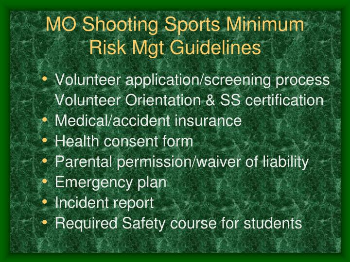 MO Shooting Sports Minimum Risk Mgt Guidelines