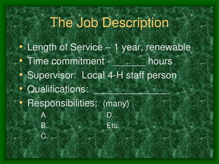 The Job Description