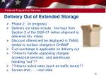 delivery out of extended storage