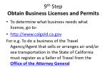 9 th step obtain business licenses and permits