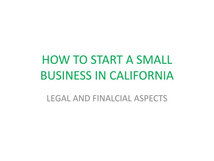 how to start a small business in california n.