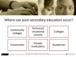 where can post secondary education occur