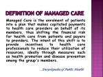 definition of managed care