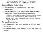 jurisdiction in divorce cases