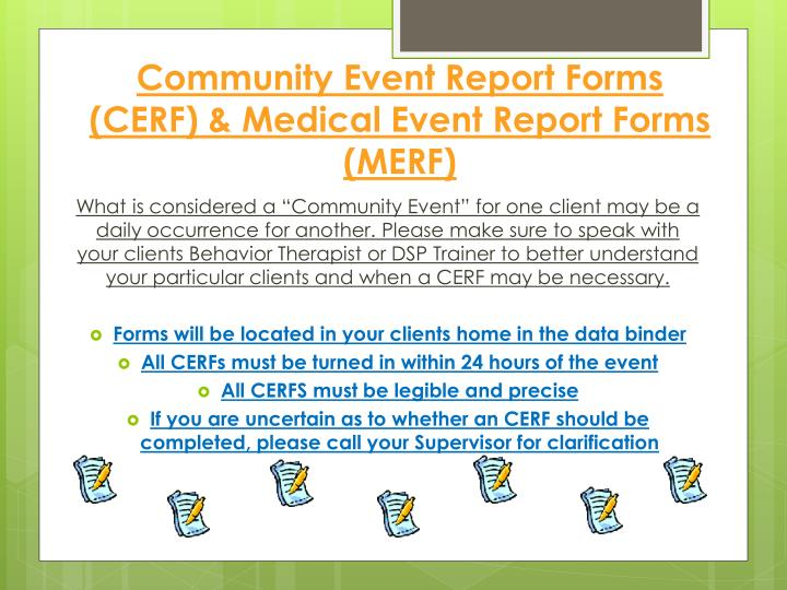 Community Event Report Forms