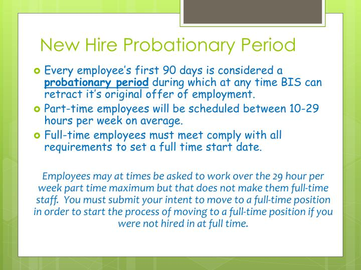 New Hire Probationary Period
