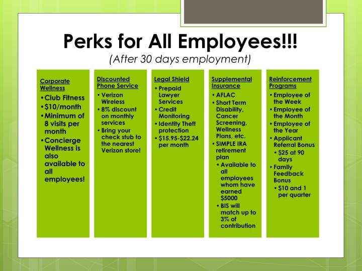 Perks for All Employees!!!