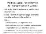 political social policy barriers to interoperability in canada