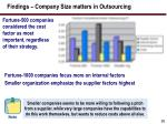 findings company size matters in outsourcing
