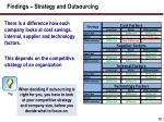 findings strategy and outsourcing