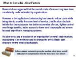 what to consider cost factors