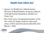 health care clinic act