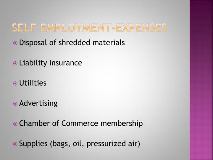 Self employment-expenses
