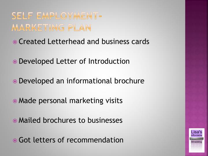 Self employment-