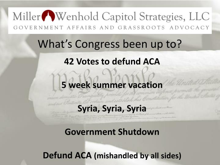 What's Congress been up to?