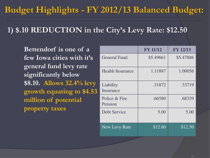 Budget Highlights - FY 2012/13 Balanced Budget: